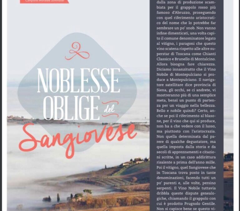 Noblesse oblige del Sangiovese – by Luca Gardini